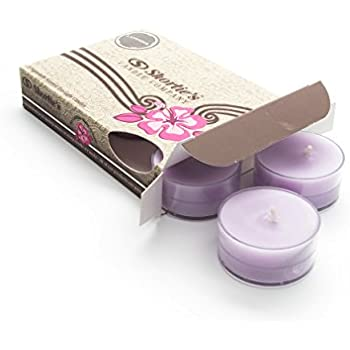 Pure English Lavender Purple Tea Light Candles 6 Pack - Highly Scented, Hand Poured, Clean Burning - Clear Container for Beautiful Candlelight - Floral Tealights Collection