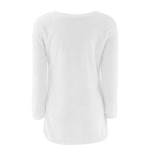 Manches Blanc1 Solides Pull Col d'hiver Longues Longues Manches Pull Blouse Rovinci Femmes Casual Warmer Les Rond lgant aIzPw