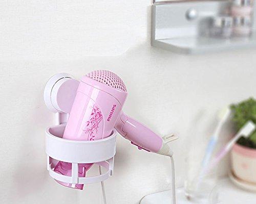 Cinlv Wall Mount Spring Style Hair Dryer Holder Rack Hair Drier Storage Organizer Hair Blower Holder