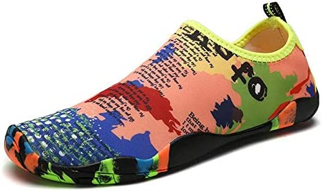 HYH ユニセックス屋外スイミング/上流/肌/浜辺/ダイビング/スピード干渉水/サーフィン用靴下/水陸両用/アンチサンゴフィットネスランニングシューズ いい人生 (色 : Multi-colored, Size : US9.5)
