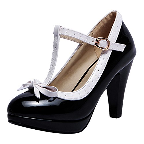 843e821c768fb Womens Retro T Strap Pumps with Bow Closed Toe Patent Leather High ...