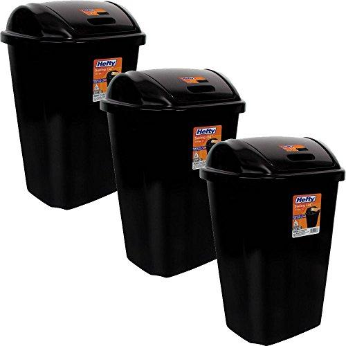 Hefty Swing-lid 13.5-gallon Trash Can (3, Black)
