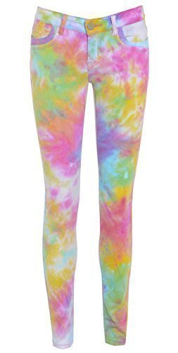 NEUF CLAIR TIE AND DYE Supersoft Mesdames Denim Jeans moulant taille 6 - 16