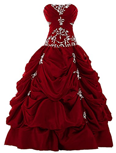 Vantexi Women's Strapless Silver Embroidery Prom Gown Pick-up Quinceanera Dress Burgundy 2