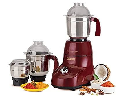 e1e8d8af8d Buy Usha Microsmart Pro 3773 750-Watt Mixer Grinder with 3 Jars (Wine)  Online at Low Prices in India - Amazon.in