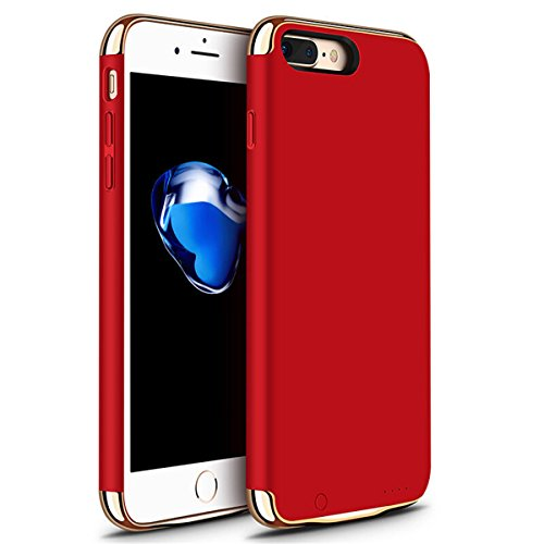 iPhone 6/6s/7 Plus Battery Case, GIZEE Ultra Slim 3 In 1 Metal Textured 4000 mAh Portable Protective Charging Case for Apple iPhone 6 Plus/ iPhone 6S Plus/ iPhone 7 Plus 5.5 Inch - Red