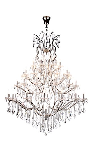 OmniLucent ARCG60PN-3414 Evelyn Collection Chandelier with 49 Lights and Clear Crystals, 60