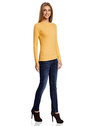 oodji Collection Mujer Jersey de Punto con Trenzas Pequeñas Amarillo (5200N)