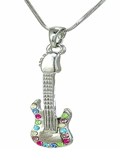 Rock Guiter Necklace Silver Tone Multicolor Crystals 18 Inches Snake Chain