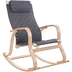 SONGMICS Rocking Chair/Glider/Relax Lounge Chair with Removable Pillow, Birch Wood Gray ULYY40GY