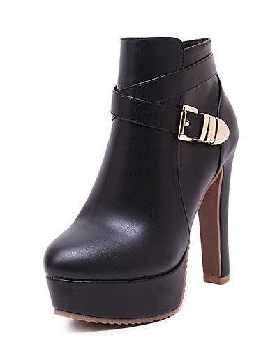 Stiletto Uk6 Mujer us8 Punta Xzz Semicuero Eu39 Blanco Redonda Plataforma Cn39 Tacón Zapatos Tacones Botas Vestido Negro De White Aqn41wI