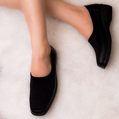 Spylovebuy CUTESPY Comfy Stretch Memory Foam Slip On Shoes Black Stretch qeJw5Wm