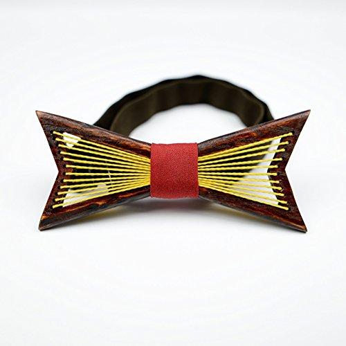 Ash Stripe Wood (Wooden Bow Tie OKTIE Original Gold Net Handmade For Men Red Wood Gift Box)
