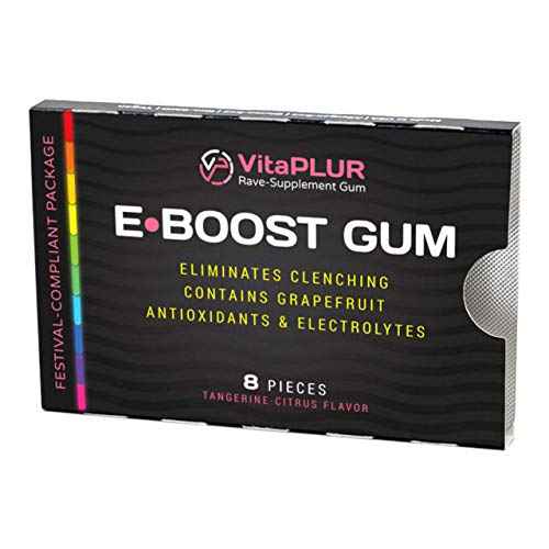 VitaPLUR: E-Boost Gum - Rave Music Festival Boost Supplement | Eliminate Jaw Clenching | Chew During Event | Comedown Recovery & Neurotoxicity Protection | Antioxidants & Electrolytes | (Tangerine)