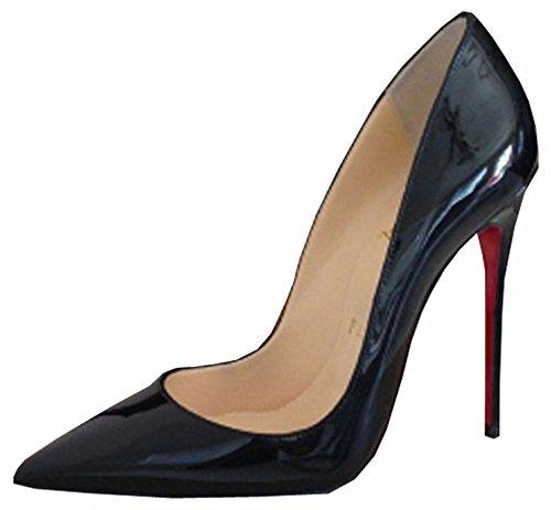 mulheres Sapato Calcanhar Vermelha Preto Bombas Genuíno Mulheres Inferior Tamanhos Marca 5 Pé 38 Dedo A Couro calcanhar Parte 35 Do xOq6t1ER