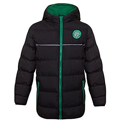 Celtic FC Official Soccer Gift Boys Quilted Hooded Winter Jacket