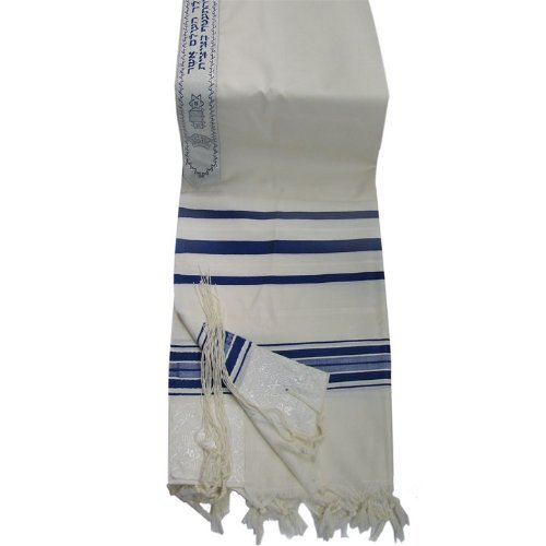 Talitnia Traditional Wool Tallit in Blue and White Stripes by Talitnia