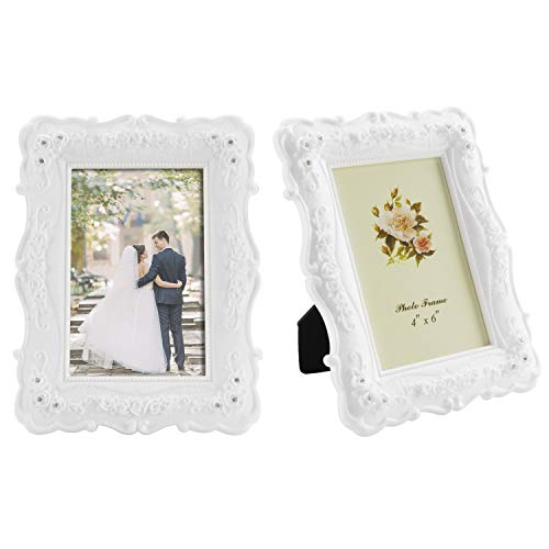 MyGift 4x6 Inch Vintage White Rose Picture Frame, Set of 2 (Picture White Rose)