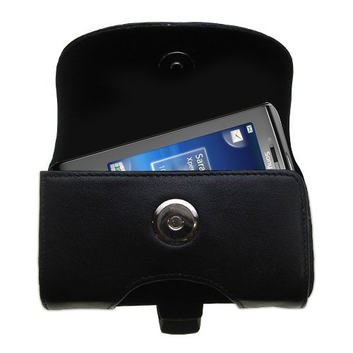 Belt Mounted Leather Case Custom Designed for the Sony Ericsson Xperia X10 mini pro a - Black Color with Removable Clip by ()