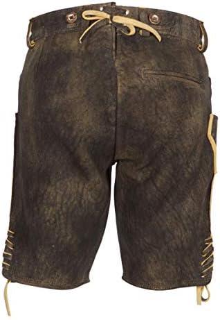 Ostarrichi Bertl Pantalon en cuir pour femme Noir/bleu