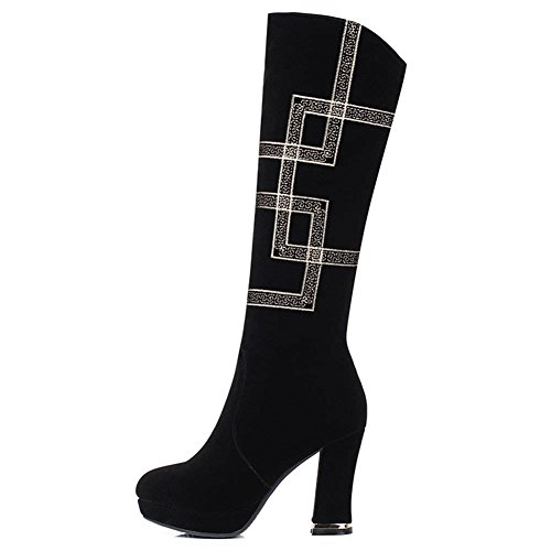 DecoStain Women's Nubuck Leather Block Heel High Heel Boots Black uBheIZ