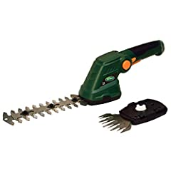 Scotts Cordless 7. 2-Volt Lithium-Ion Garden Shear Combo Set is convenient, rechargeable, lightweight and easy to use. The two interchangeable blade system allows grass edging and hedge trimming. The quick blade changing system requires no to...
