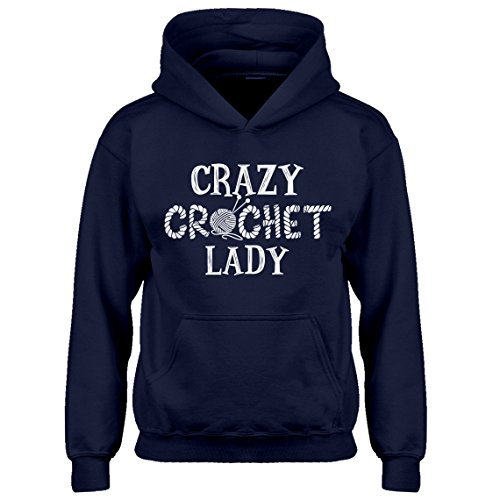 (Indica Plateau Kids Hoodie Crazy Crochet Lady X-Small Navy Blue Hoodie)