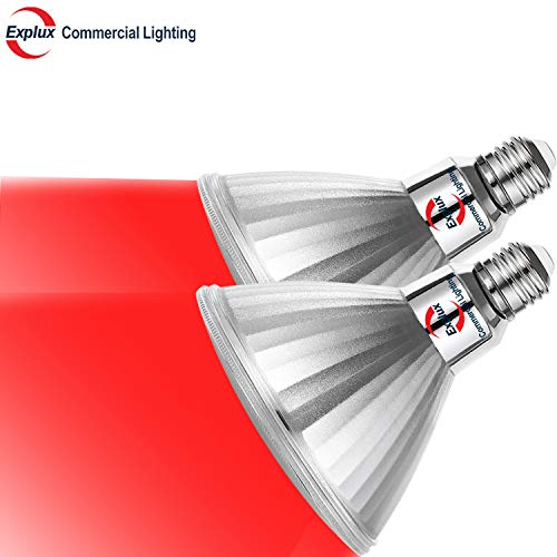 Explux Dimmable Red Color PAR38 LED Flood Light Bulbs, Classic Full-Glass, Indoor/Outdoor, 10W (120W Equivalent), 2-Pack -