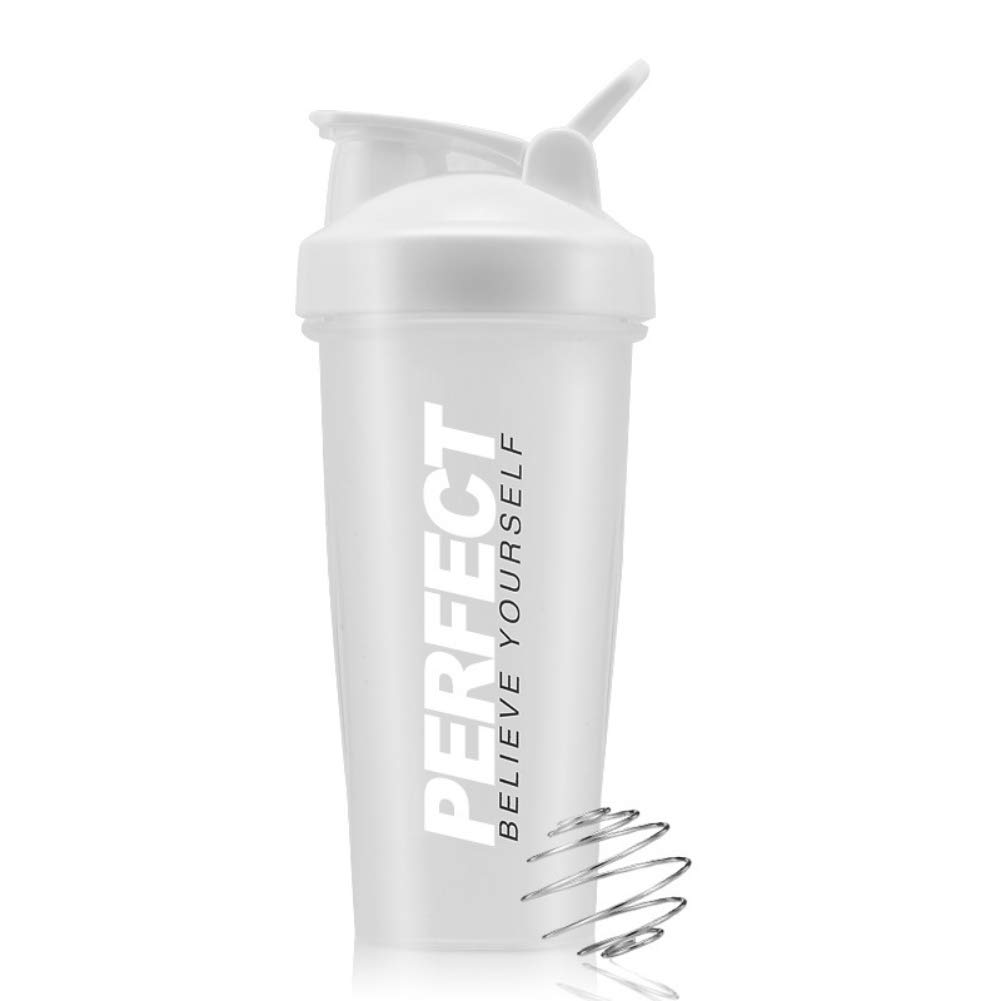 PanDaDa Coffee Travel Mugs for Men, 650ML Plastic Classic Loop Top Shaker Bottle Mixing Cup Sports Fitness Kettle Leak Proof Water Bottle,White,One Layer