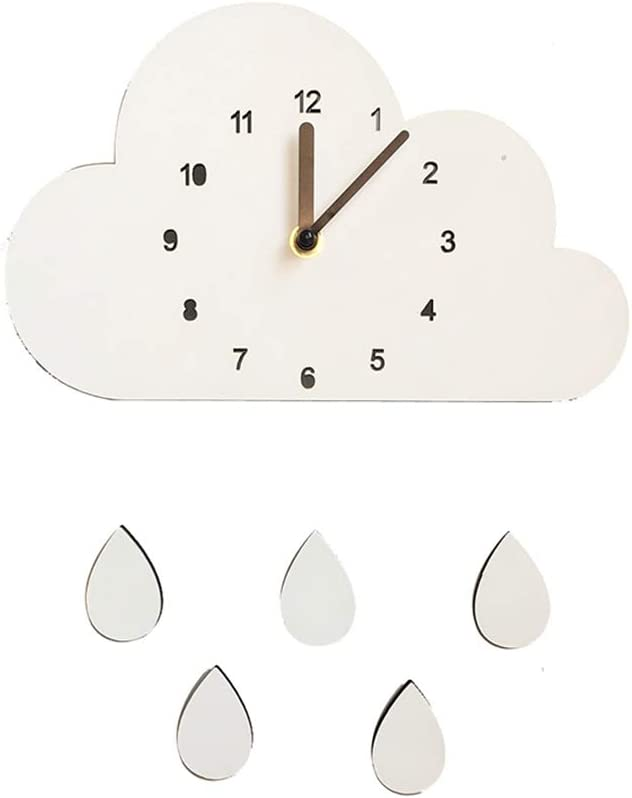 Adarl Nordic Style Colorful Acrylic Wall Clocks, Creative Clouds Water Drops Wooden Wall Clock for Children's Room Decor, Battery Operated (Not Included), White