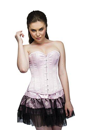 同時ワイン貨物Baby Pink Satin Double Bone Gothic Burlesque Waist Training Overbust Corset Top