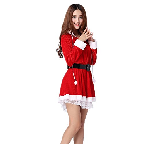 Kenmont Frau Weihnachtsmann Cosplay Kostüm Bodycon Rot Mini Kleider ...