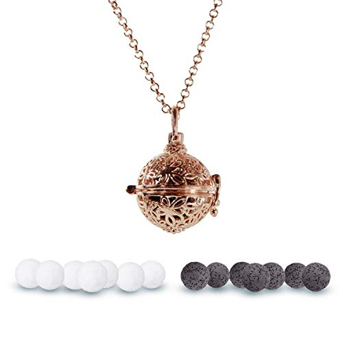 Aromatherapy Essential Oil Diffuser Locket Necklace, Rose Gold Pendant Jewelry, 36