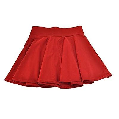 Women's Basic Plain Pleated Miniskirts Stretchy Ruffle Skater Skirt