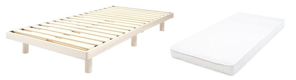 すのこベッド セミダブル ポケットコイルロールマットレス付 北欧 ベット ヘッドレスすのこベッド 木製 ワンルーム ベッドフレーム シンプル スノコ すのこ bed セミダブルベッド マットレス ポケットコイルロールマットレス (ホワイト) B079NQBZFB ホワイト