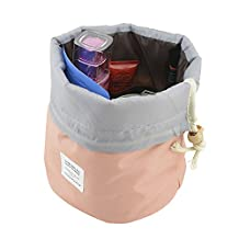 Rancco® Waterproof Travel Kit Organizer Bathroom Storage Cosmetic Bag, Portable Drawstring Toiletry Compartment Carry Pouch Case Storage Makeup Cosmetics Kit Box/ Washing Bag with Hanging Hook (Pink)