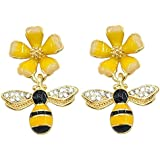 UALGL UALGL Gold Plated Bee Dangle Drop Stud Earrings for Women Girl Yellow Flower Crystal Jewelry (Yellow-4)