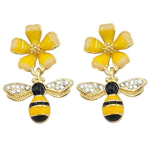 Mother's Day Gift Cubic Zirconia Star Flower Bee Dangle Drop Stud Earrings For Girls Hypoallergenic 1 pair - 2 pairs (Yellow-4)