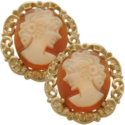 14K Yellow Gold Cornelian Shell Cameo Earrings (Cornelian Shell Cameo Earrings)