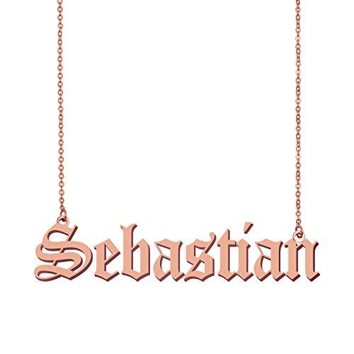 HUAN XUN Old English Peronalizedized Sebastian Custom Name Necklace Charm Pendant