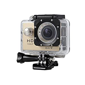 New HOT WIFI 1080P HD Action Sports Camera Built-in microphone ,Tuscom Waterproof-30M, Action Camera (2.0 Inch Ultra HD Screen)Camcorder HD 1080P Mini DV Pro Camcorder (Gold)