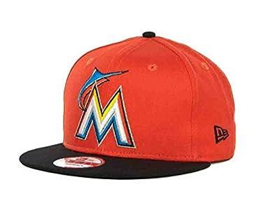 New Era MLB Miami Marlins Turnover Orange/Black Flatbrim Strapback Hat Cap Osfa