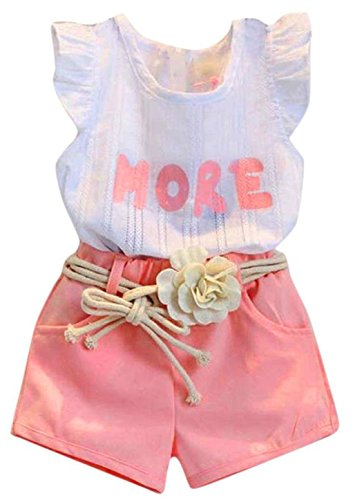 Happy Town 2PCS Set Toddler Kids Baby Girls Outfits Clothes T-Shirt Vest Tops+Shorts Pants(2-6 T) (Pink#2, 4 T) Vest Pants Shorts