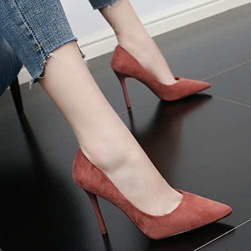 SFSYDDY Sexy Pointed Summer Shoes High 10Cm Heel Women'S Suede Wild Shoes Comfortable Thin Shallow Simple Pink XWnqXBr