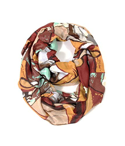 Scarfand Vibrant Painting Artistic Print Infinity Scarf (Abstract Mustard-Brown)