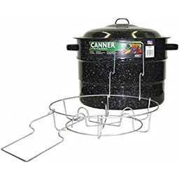 Granite Ware 0707-1 Steel/Porcelain Water-Bath Canner with Rack, 21.5-Quart, Black
