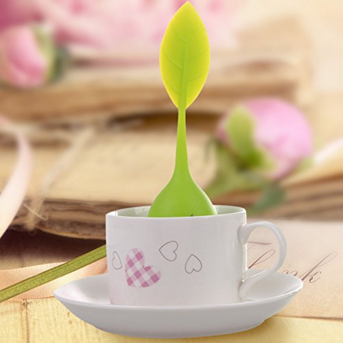 Funnytoday365 Kitchen Tea Tools Leaf Green Tea Infuser With Drip Tray Silicone Strainer For Herbal Puer Spice Filter Tools Kitchen Drinkware by FunnyToday365 (Image #3)