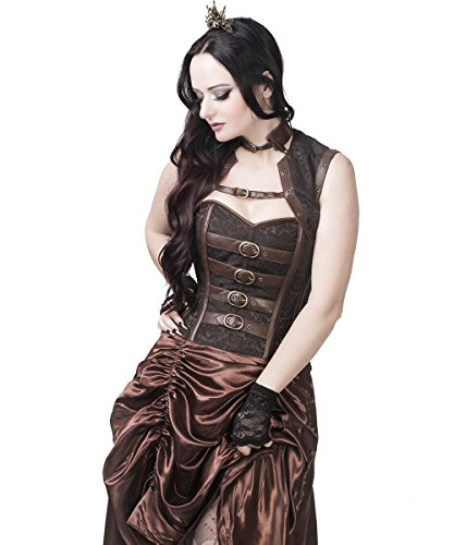 Spiral Boned Steampunk Corset Dress with Gathered Skirt-XS ()