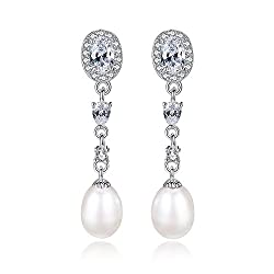 Sterling Silver Pearl Dangle Teardrop Earrings