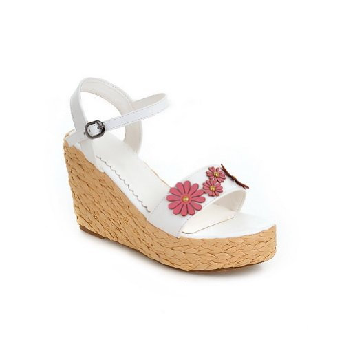 VogueZone009 Womens Open Toe High Heel Platform Wedges PU Solid Sandals with Flower and Buckle White